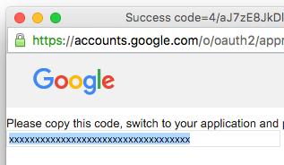 google developers console copy authentication code