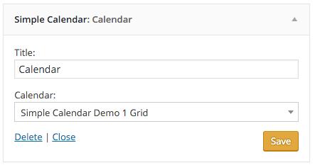 simple calendar widget settings