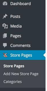 WordPress Store Pages Menu