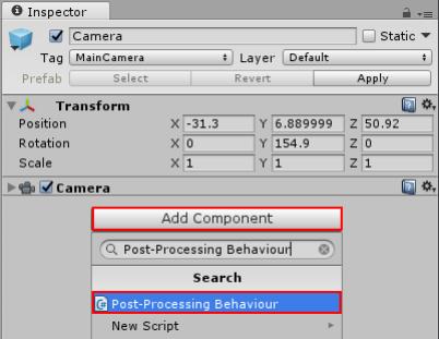 Adding a Post-Processing Behaviour script