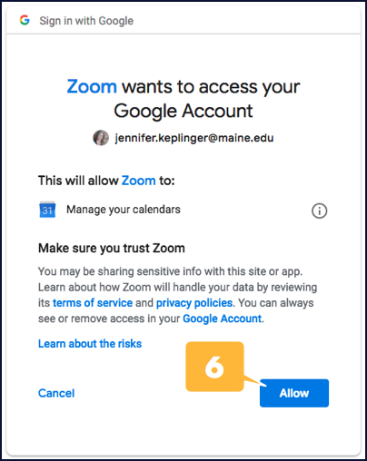 Screenshot showing how to confirm Zoom access to your Google calendar
