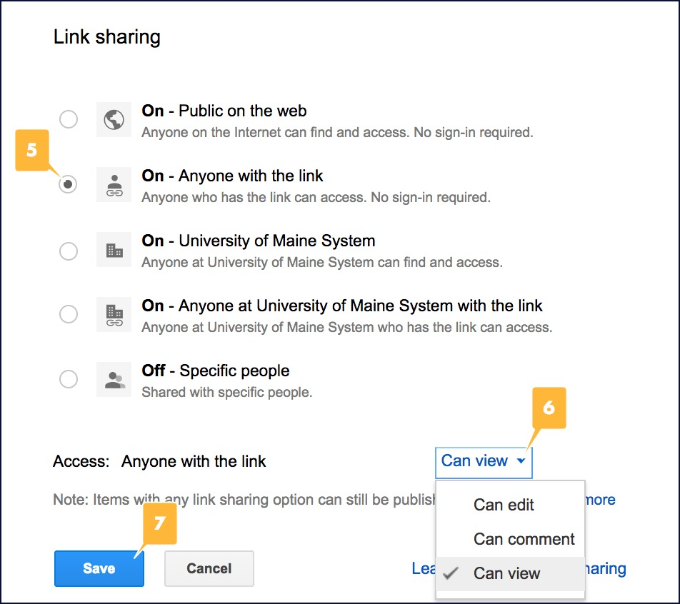 Screenshot showing the link sharing options described in steps 4-6