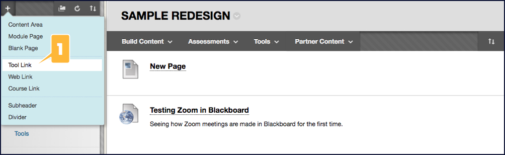 Screenshot showing the option for adding a tool link to a Blackboard course menu