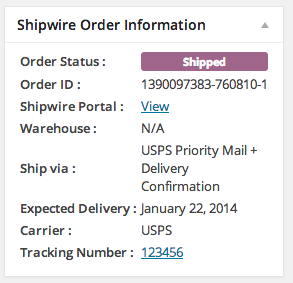 WooCommerce Shipwire Integration Shipped order
