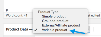 Selecting variable products WooCommerce