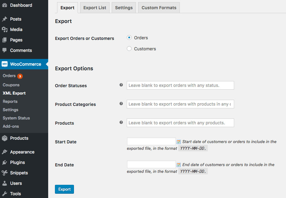 WooCommerce Customer / Order XML Export: manual order export