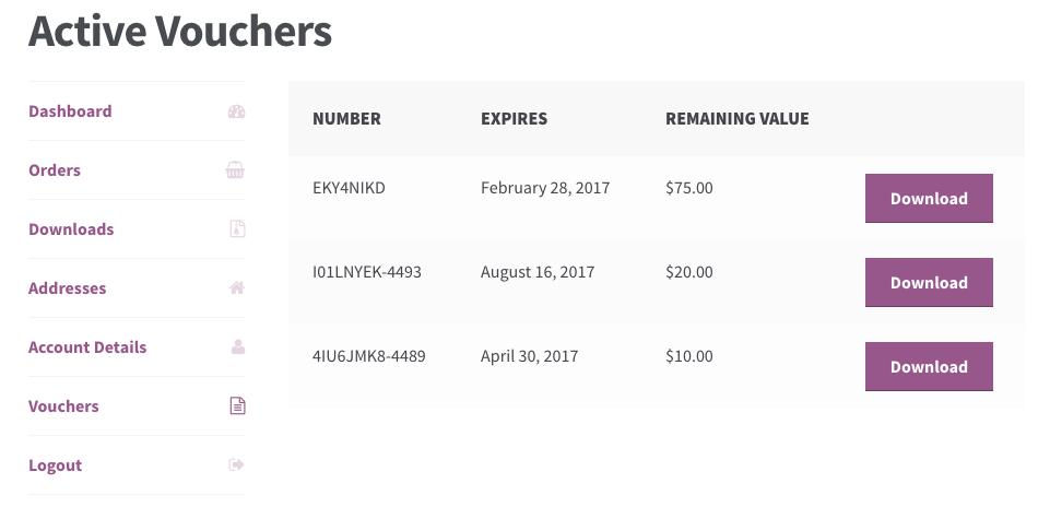 WooCommerce PDF Product Vouchers: My Vouchers