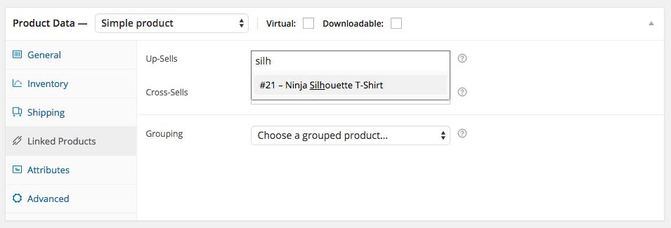WooCommerce Simple Product - fanen Tilknyttede produkter