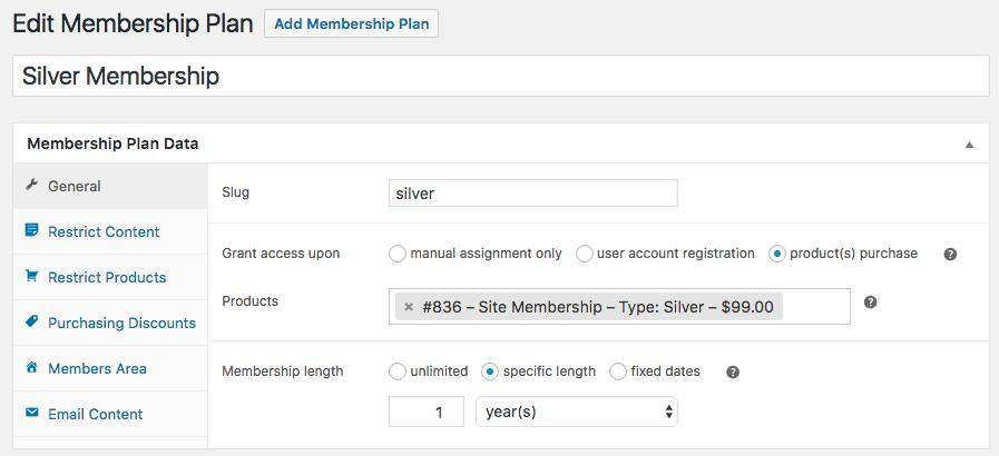 WooCommerce memberships: general plan data