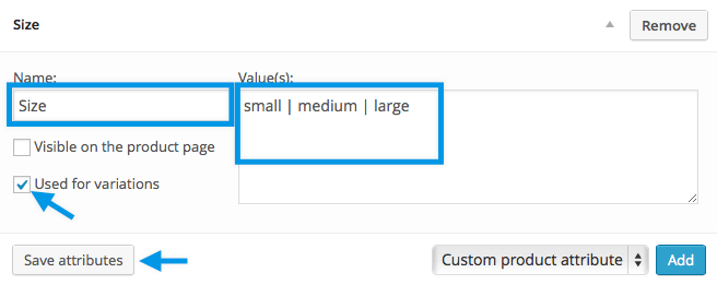 Setting Up Custom Attributes for Variations
