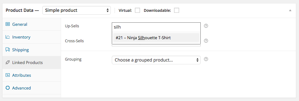 WooCommerce Simple Product - Linked Products Tab