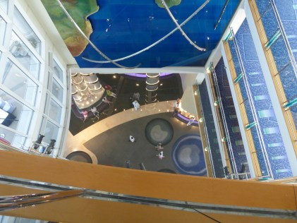 Looking down at lobby of Jumeirah Beach Hotel