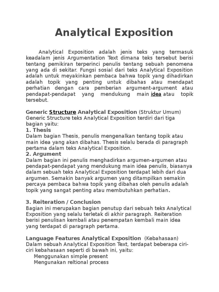 Contoh Analytical Exposition Learning English Ndang Kerjo Download