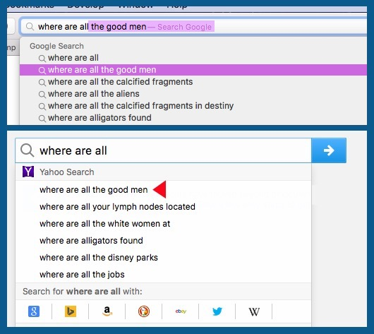 Figure 1. Google and Yahoo try to find a fella.