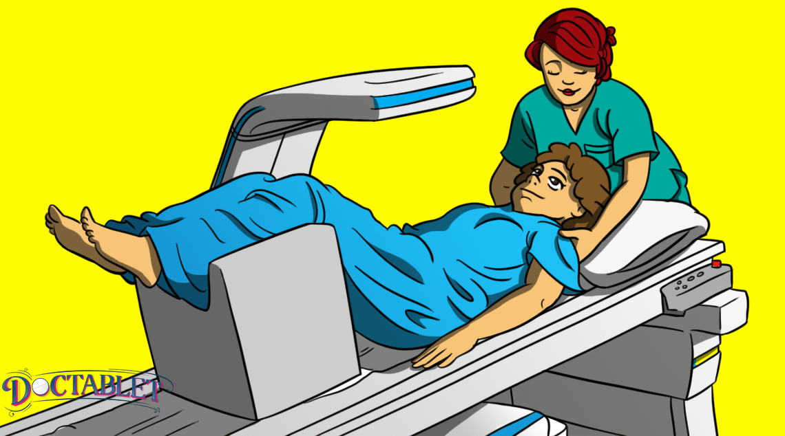 How is a DEXA scan procedure done?