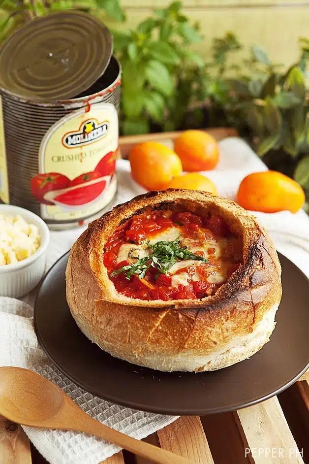 soupe en bol tomates mozzarella