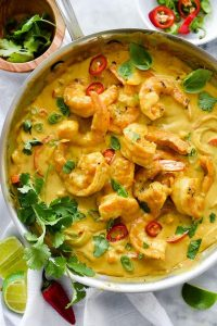 recette Crevettes thai curry coriandre