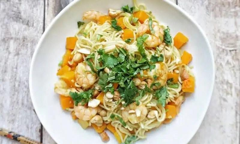 recette nouilles crevettes courge butternut
