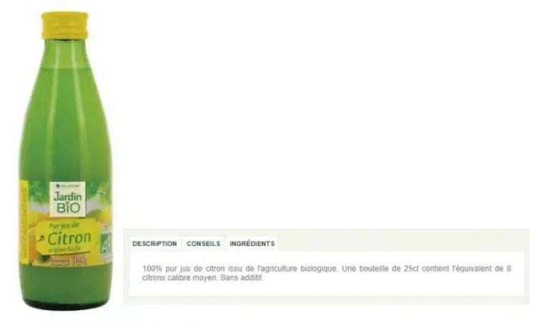 jus de citron en bouteille jardin bio