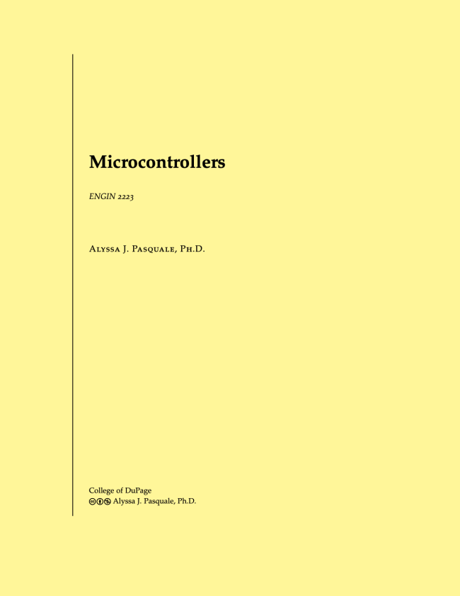 Cover of the microcontrollers textbook, click to go to a PDF copy.