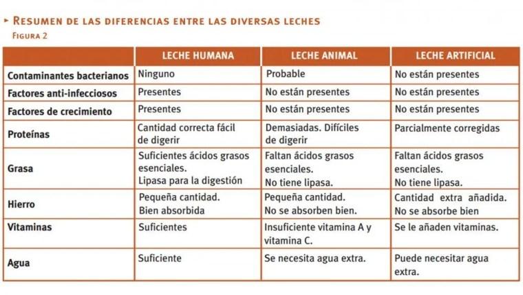 Resumen de las Diferencias entras las diversas leches