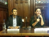 Photo of Dr Aseem Malhotra sitting with shadow minister for public health Luciana Berger.