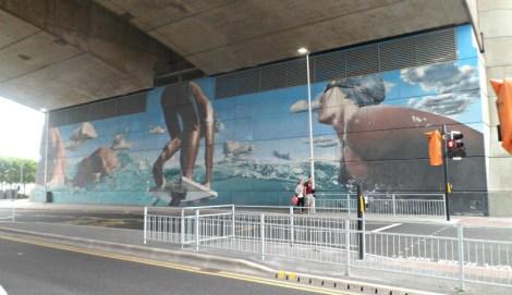 Glasgow 2014 swimmers mural beneath the Kingston Bridge