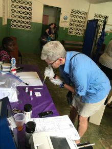 Lori, a social worker by trade - serving as a lab technician and Team Leader on this trip.