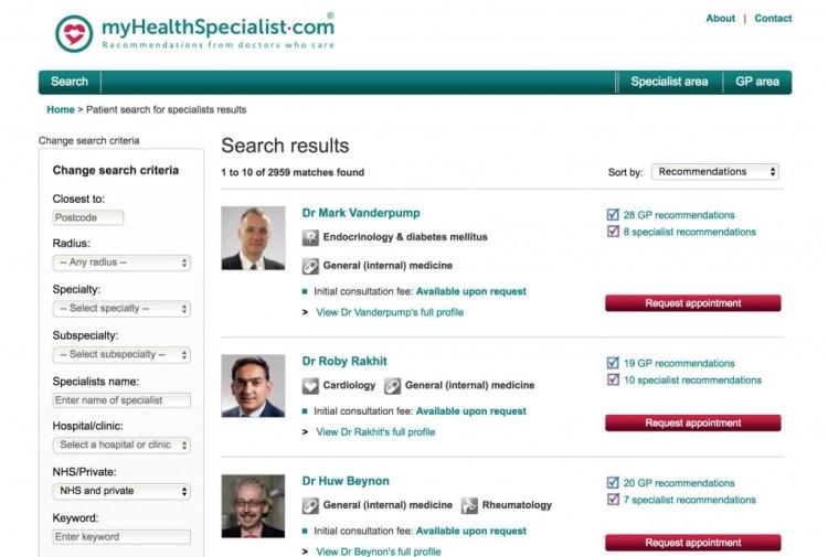 myhealthspecialist website screenshot