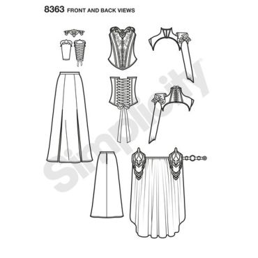 simplicity-fantasy-costume-pattern-8363-front-back-view