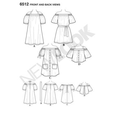 newlook-off-shoulder-pattern-6512-front-back-view