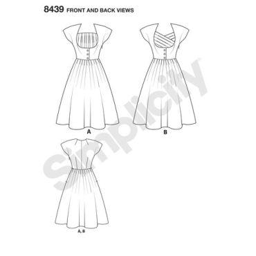 simplicity-retro-dress-miss-plus-pattern-8439-front-back-view