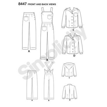 simplicity-vintage-1940s-overalls-pattern-8447-front-back-view