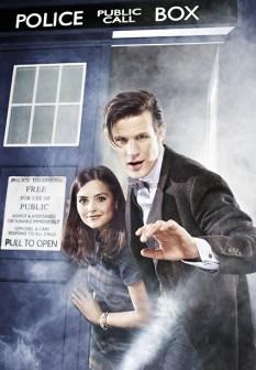 Matt y Jenna, frente a la TARDIS.