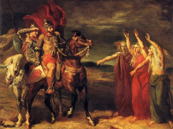 Macbeth and Banquo Meeting the witches on the heath  By Theodore Chasseriau 1856