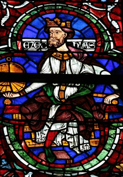 King Hezekiah Stained Glass in Canterbury Cathedral Artist unknown 12th century