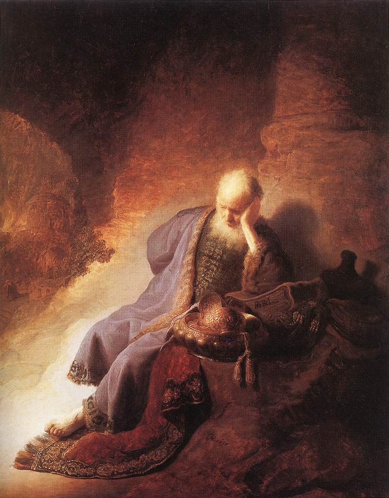 Jeremiah Lamenting the Destruction of Jerusalem by Rembrandt Cir 1630