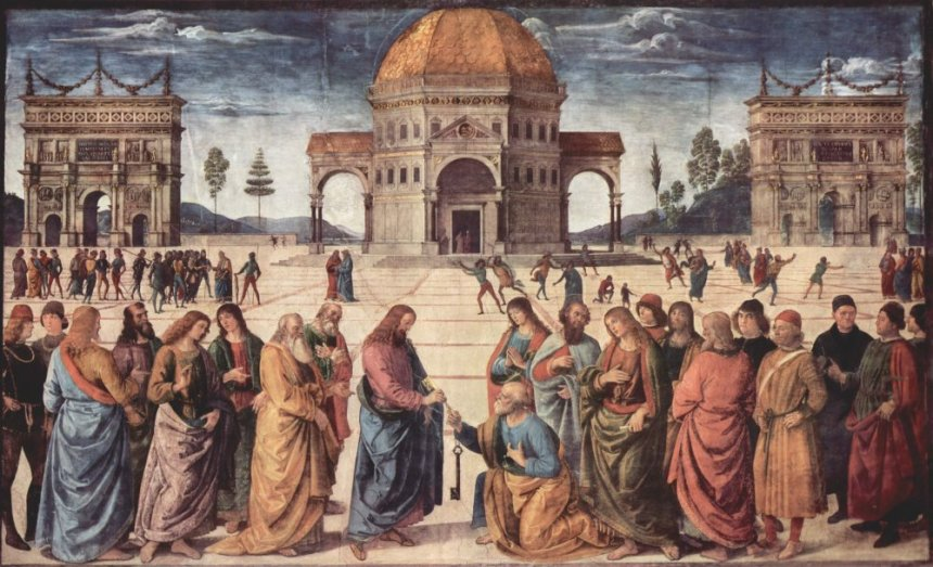 Peter Receives the Keys to the Kingdom by Pietro Perugino Cir 1481-82