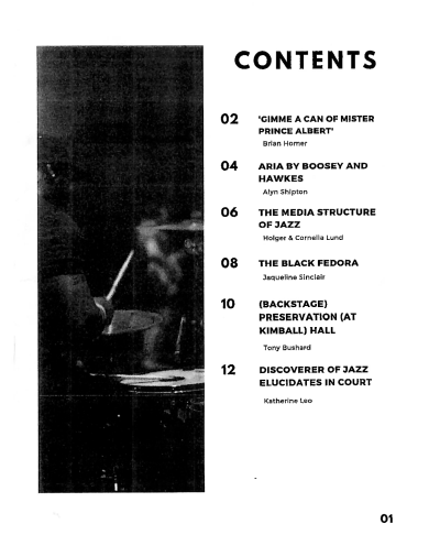 Contents Page of Material Reflections at Documenting Jazz 2020