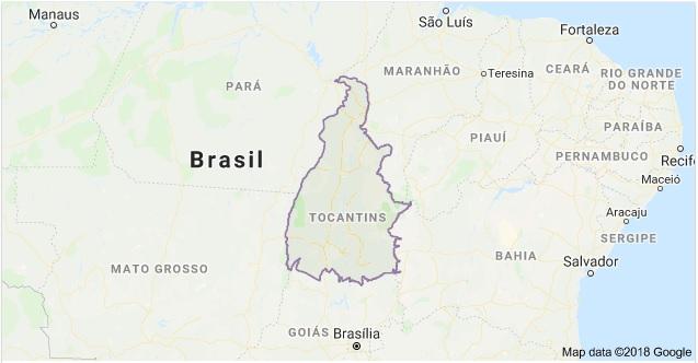 Mapa do Estado do Tocantins | Fonte: Google Maps