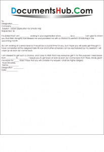 Sample Leave Application for Performing Hajj