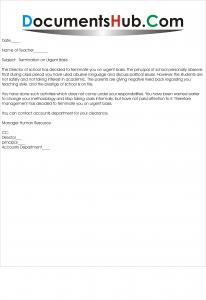Termination Letter For School Teacher