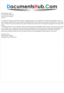 Teacher Appointment Letter