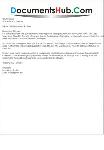 Hajj Leave Application for School Teacher Sample