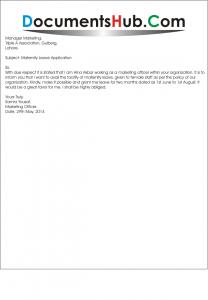 Sample Leave Application for Maternity Leave