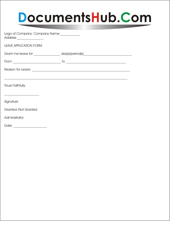 DocumentsHub.Com  Leave Application Form For Employee