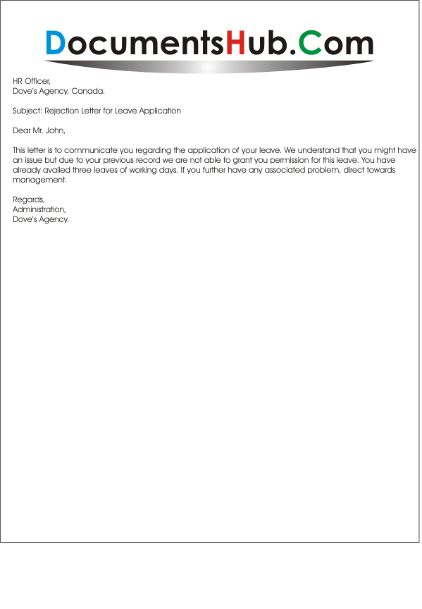 Rejection letter for leave request thecheapjerseys Choice Image