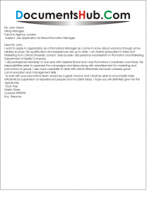 Sample Cover Letter for Brand Promotion Manager