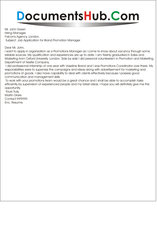 cover letter for brand promotion manager