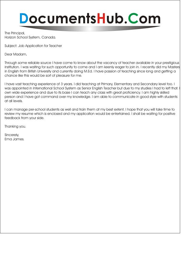Sample Application Letter For Mapeh Teacher